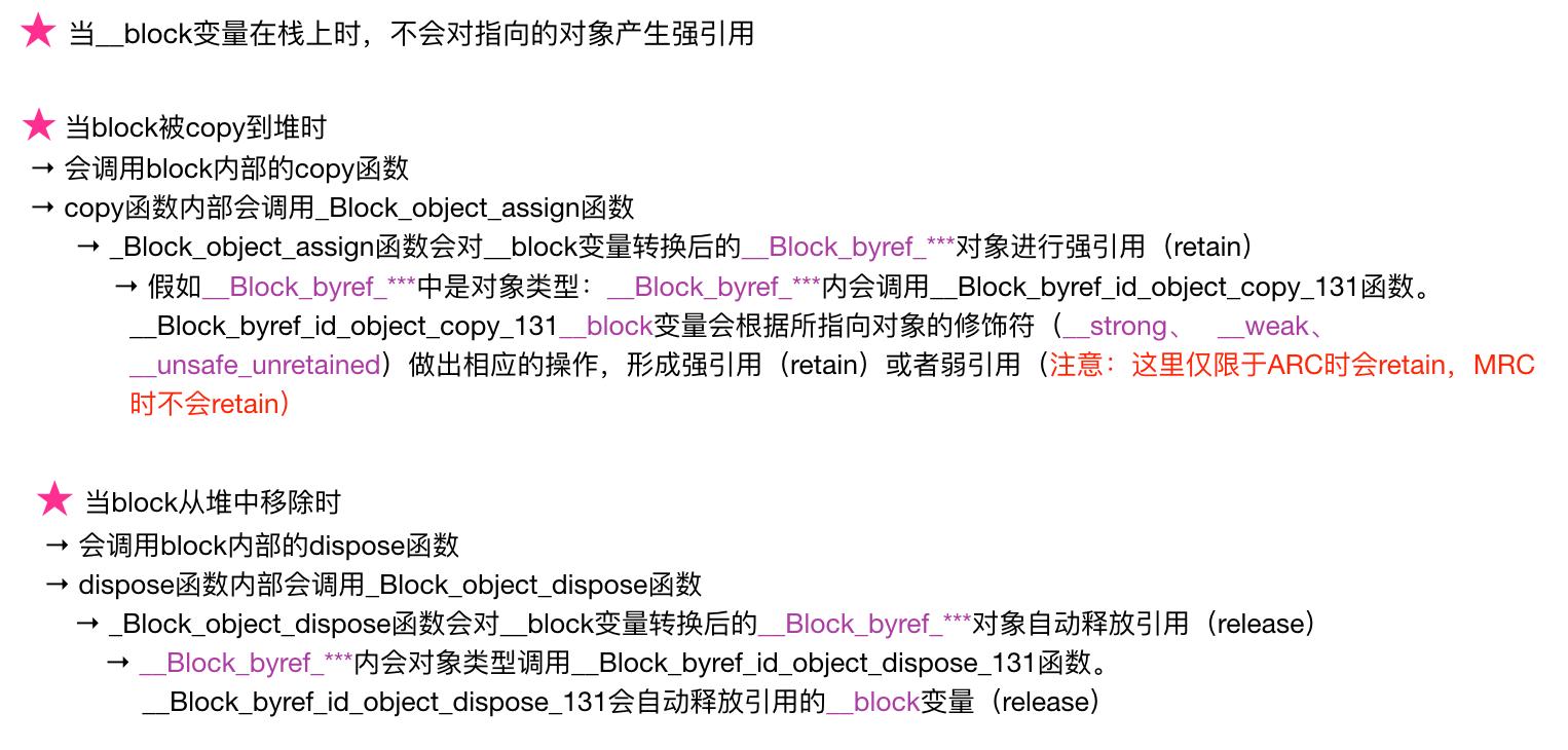 __block变量的内存管理规律